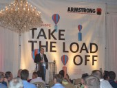 Peter Thomsen speaks to a packed house of approximately 200 people about design envelope integrated chiller plants at Armstrong's International Engineering Visit at The Sutton Place Hotel in Toronto, ON.