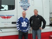 Hockey great Darryl Sittler and Steve Hoffins from Johnson Controls (York) at the official launch of the 2014 Bridgestone NHL Winter Classic Ice Truck sponsored by York.