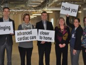 (From left) Stephen Schroeter, Ingrid Schroeter, and Chris Schroeter of Napoleon Fireplaces, Grills, and Heating and Cooling; Arlette Utton, chairwoman, Royal Victoria Regional Health Centre (RVH) Foundation board of directors; Sharon Howard and Karen Simpson, registered nurses at the RVH's cardiac care unit.