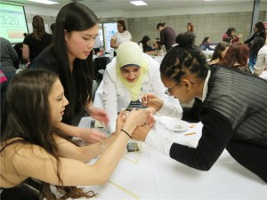 Students at the Skills Canada - ON Young Women's Networking Dinner on April 3 had some fun with the marshmallow challenge, where the goal was to build the tallest free-standing structure using spaghetti noodles and marshmallows.