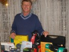 HPAC's Tremendous Tool Take-Away contest winner Gerry Myers of Myers Refrigeration Service in Stittsville, ON poses with his winnings, which included an inspection camera, distance meter, combustion analyzer, CO monitor, dual readout thermometer, portable torch kit and electronic charging scale.