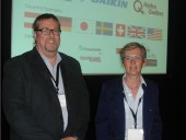 Denis Tanguay with Dr. Sophie Hosatte, director of the Buildings Group, CanmetENERGY and a member of the international organizing committee, following the close of the 11th IEA Heat Pump Conference.