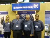 From left, Erika Carmody, marketing coordinator, Bruce Layte, district sales manager - Southern Alberta, Simon Feddema, general manger, Grundfos Canada and Sherezad Shafiq, regional sales manager, Western Canada.