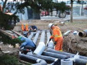 Distribution pipes being installed at the Sleeman Centre in Guelph, ON.