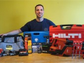 Benoit De Gagn-Marcouillier, of Plomberie G&G Limitee in Montreal, is shown here with his Great Tool Takeaway (Raflez les outils) winnings.
