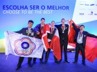 Competitor Marc-Antoine Bettez (centre) received Bronze in Refrigeration and Air Conditioning at the WorldSkills 2015 Sao Paulo Closing Ceremonies on August 16th.