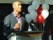 Damian Warner, Canadian decathlete and Pan Am games gold medalist, speaks at Enercare's grand rebrand event.
