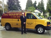 Paul Myers stands beside his company van outside of Lions Gate Hospital. Photo Lions Gate Hospital Foundation.