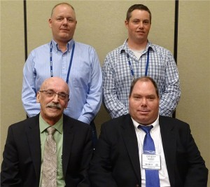 The newly elected 2016-2018 board members. Back row (l-r) Wayne Watson, educational chairperson and Brendan Myers, director and newest executive. Front row (l-r) Miles Nelson, vice president and Barry Hawse, president. Absent from photo, Ray Kenney, sergeant at arms and Nick Reggi, treasurer and secretary.