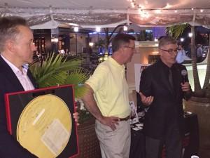 John Goshulak (l), recipient of the 2016 Carlson-Holohan award, Dan Holohan and Robert Bean (r) at the awards presentation in January.